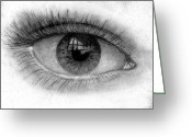 Hyper-realism Drawings Greeting Cards - I see you Greeting Card by Just Joszie