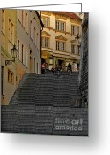 Staircase Greeting Cards - I Walked the Streets of Prague Greeting Card by Christine Till