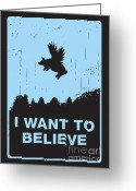 Flying Greeting Cards - I want to believe Greeting Card by Budi Satria Kwan
