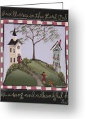 Village Church Greeting Cards - I Will Praise the Lord Greeting Card by Catherine Holman
