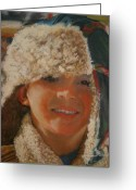 Little Boy Pastels Greeting Cards - Ian Portrait Greeting Card by Leonor Thornton
