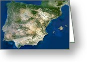 Arid Country Greeting Cards - Iberian Peninsula, Satellite Image Greeting Card by Planetobserver