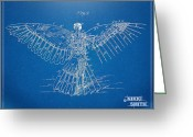Patent Greeting Cards - Icarus Human Flight Patent Artwork Greeting Card by Nikki Marie Smith