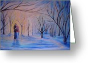 Ice Skates Greeting Cards - Ice and Embers Greeting Card by Daniel W Green