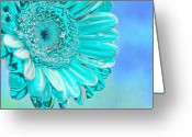 Abstract Flower Greeting Cards - Ice blue Greeting Card by Carol Lynch