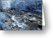 Digital Art Mixed Media Greeting Cards - Ice Blue Forest Greeting Card by Svetlana Sewell