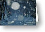 Bleu Greeting Cards - Ice Blue Snowy Landscape Greeting Card by Anahi DeCanio