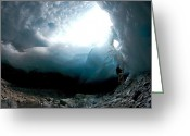 Cavern Greeting Cards - Ice Cave, Switzerland Greeting Card by Dr Juerg Alean