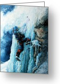 Sports Art Greeting Cards - Ice Climb Greeting Card by Hanne Lore Koehler