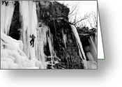 Winter Sports Photo Greeting Cards - Ice Climber in Upstate New York Greeting Card by Brendan Reals