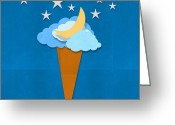 Star Mixed Media Greeting Cards - Ice Cream Design On Hand Made Paper Greeting Card by Setsiri Silapasuwanchai