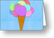 Poster Mixed Media Greeting Cards - Ice Cream On Hand Made Paper Greeting Card by Setsiri Silapasuwanchai