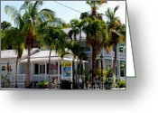 Creme Greeting Cards - Ice Creme Shop on Duval Key West Greeting Card by Susanne Van Hulst