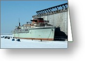 Buffalo New York Greeting Cards - Ice Fishing On Lake Erie Greeting Card by Ely Arsha