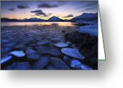 Ice Floes Greeting Cards - Ice Flakes Drifting Against The Sunset Greeting Card by Arild Heitmann