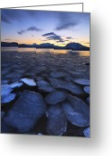 Ice Floes Greeting Cards - Ice Flakes Drifting Towards Greeting Card by Arild Heitmann