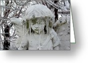 Surreal Gothic Angel Photography Greeting Cards - Ice Greeting Card by Gothicolors With Crows