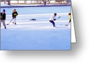 Old Skates Greeting Cards - Ice Hockey - Two on Two Greeting Card by Steve Ohlsen