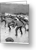 Ice Skating Greeting Cards - Ice Hockey, 1898 Greeting Card by Granger