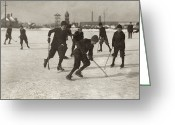 Ice Skating Greeting Cards - Ice Hockey 1912 Greeting Card by Granger