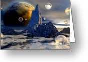3d Digital Art Greeting Cards - Ice Planet Greeting Card by Sandra Bauser Digital Art