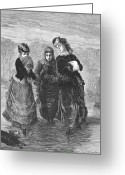 Ice Skater Greeting Cards - Ice Skaters, 1879 Greeting Card by Granger
