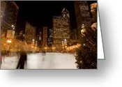 Rink Greeting Cards - Ice Skaters and Chicago Skyline Greeting Card by Sven Brogren