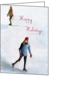 Watercolor Greeting Cards - Ice Skaters Holiday Card Greeting Card by Beverly Brown Prints