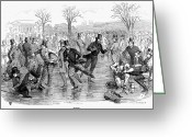 Ice Skater Greeting Cards - Ice Skating, 1847 Greeting Card by Granger