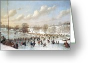 Central Painting Greeting Cards - Ice Skating, 1865 Greeting Card by Granger