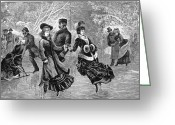 Ice Skater Greeting Cards - Ice Skating, 1877 Greeting Card by Granger