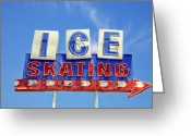 Vintage Signs Greeting Cards - Ice Skating Greeting Card by Matthew Bamberg