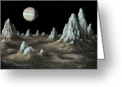 Ices Greeting Cards - Ice Spires On Callisto, Artwork Greeting Card by Richard Bizleycallisto Engineering Expertise For Space Communications