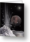 Ices Greeting Cards - Ice Volcano On Charon, Artwork Greeting Card by Richard Bizley