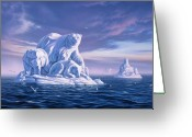 Ice Painting Greeting Cards - Icebeargs Greeting Card by Jerry LoFaro