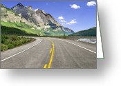 Yellow Line Greeting Cards - Icefields Parkway In Canadian Rockies Greeting Card by Lester Lefkowitz