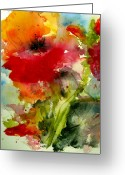 Gold Painting Greeting Cards - Iceland Poppy Greeting Card by Anne Duke