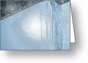 Winter Storm Digital Art Greeting Cards - Icicles 1 - Hanging From the Eaves Greeting Card by Steve Ohlsen