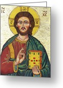 Icon Byzantine Greeting Cards - Icon of Jesus As Christ Pantocrator Greeting Card by Ion vincent DAnu
