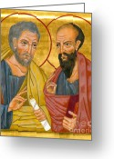 Byzantine Icon Greeting Cards - Icon of Sts Peter and Paul Greeting Card by Juliet Venter