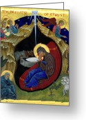Byzantine Icon Greeting Cards - Icon of the Nativity Greeting Card by Juliet Venter