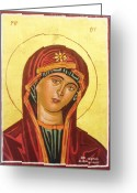 Egg Tempera Greeting Cards - Icon of the virgin Mary. Greeting Card by Anastasis  Anastasi