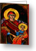 Icon Byzantine Greeting Cards - Icon  Greeting Card by Yvonne Ayoub