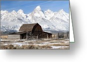 Grand Tetons National Park Greeting Cards - Iconic Barn in Grand Tetons National Park  Greeting Card by Pierre Leclerc