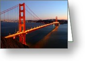 San Francisco Greeting Cards - Iconic Golden Gate Bridge in San Francisco Greeting Card by Pierre Leclerc