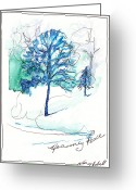 Holiday Notecard Greeting Cards - Icy Blue Christmas Greeting Card by Michele Hollister - for Nancy Asbell