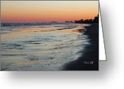Surf Silhouette Greeting Cards - Icy Blue Twilight Greeting Card by Suzanne Gaff
