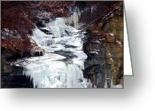 Telephoto Greeting Cards - Icy waterfalls Greeting Card by Mingqi Ge