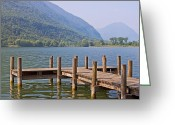 Lotus Leaves Greeting Cards - idyllic tarn in Italy Greeting Card by Joana Kruse