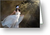 White Dress Mixed Media Greeting Cards - If I could see Greeting Card by Marrissia Ruth